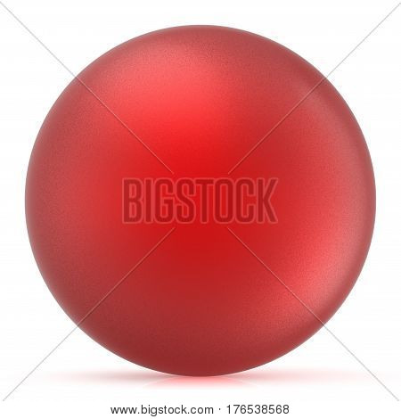 Red sphere round button ball basic matted circle geometric shape solid figure 3D render illustration isolated