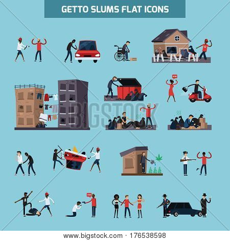 Colored and isolated ghetto slum flat icon set with people living in in bad conditions vector illustration