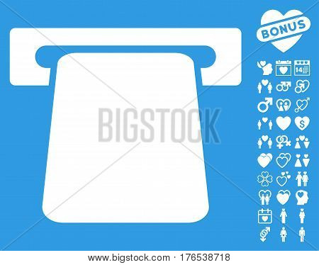 Bank ATM icon with bonus decorative pictures. Vector illustration style is flat iconic symbols on white background.