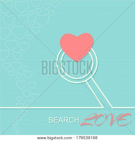 Searching for love. Love card.Vector illustration on blue background.