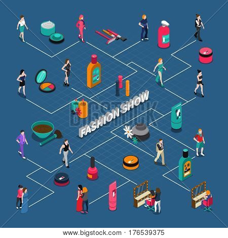 Fashion show isometric flowchart with models on catwalk and in dressing room cosmetics elements vector illustration