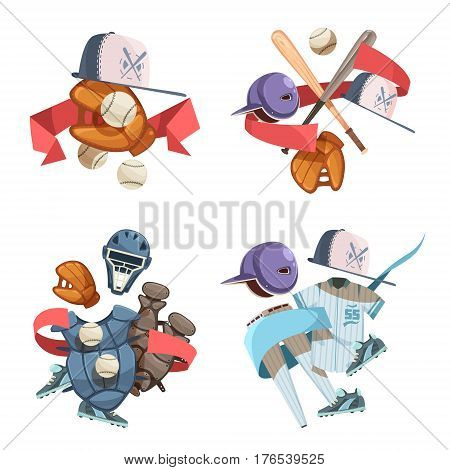 Four baseball inventory decorative icons compositions in retro style with bat helmet balls gloves uniform elements flat cartoon vector illustration