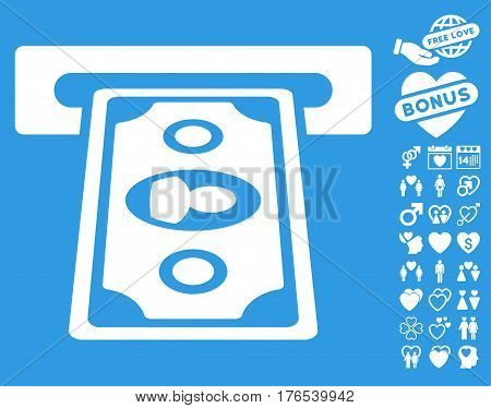 Cashpoint Terminal pictograph with bonus lovely pictograms. Vector illustration style is flat iconic symbols on white background.