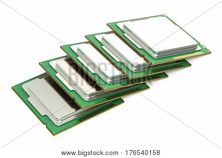 CPU computer processor units 3D rendering isolated on white background