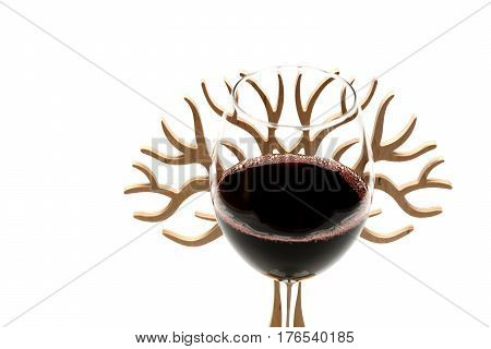 Glass Of Red Wine With Decorative Wooden Tree