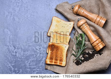 Fried Toast Bread, Wooden Pepperbox, Saltcellar, Rosemary Spice, Pepper, Burlap