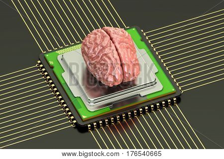 Human brain with cpu computer processor artificial intelligence concept. 3D rendering