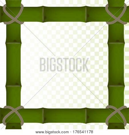 vector frame of thick green bamboo on a transparent background. bound by a rope. for design