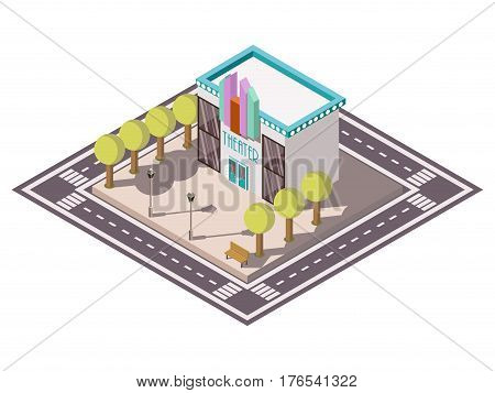 Theatre building isometric composition with road bench and trees vector illustration