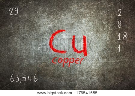 Isolated Blackboard With Periodic Table, Copper