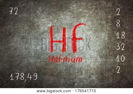 Isolated Blackboard With Periodic Table, Hafnium