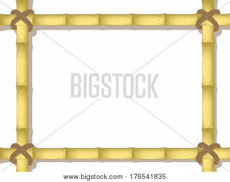 vector bamboo frame. bound by a rope. mockup design. isolated on white background