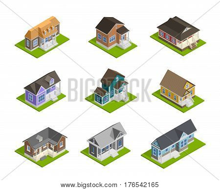 Town houses isometric set with detached houses  isolated vector illustration