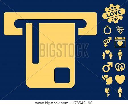 Bank ATM icon with bonus marriage icon set. Vector illustration style is flat iconic symbols on white background.