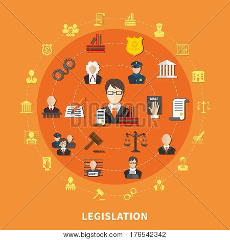 Law round composition with icon set on theme combined in big circle vector illustration