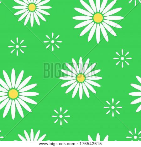 Green spring seamless pattern with light flowers camomile. Abstract floral background. Vector illustration