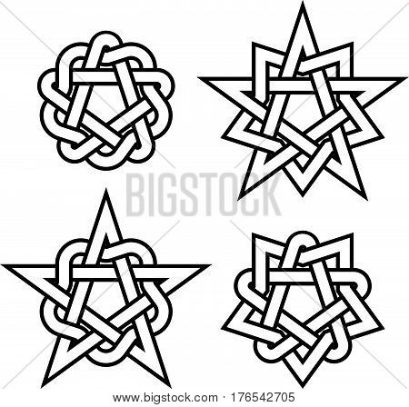 Oriental and celtic star knots or abstract geometry design elements isolated on white background. Outline tattoo symbols set. Vector illustration