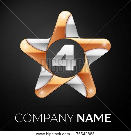 Number four vector logo symbol in the colorful star on black background. Vector template for your design