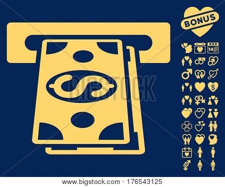 Cash Withdraw icon with bonus lovely pictograph collection. Vector illustration style is flat iconic symbols on white background.