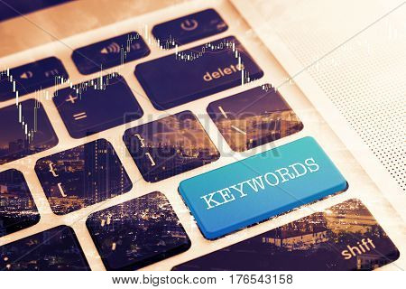 KEYWORDS: Close up green button keyboard computer. Vintage Effects. Digital Business and Technology Concept.