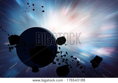 Planets and asteroids in the Milky Way. 3D render / illustration.