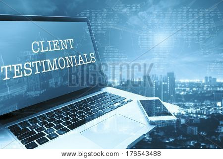 CLIENT TESTIMONIALS: Grey computer monitor screen. Digital Business and Technology Concept.