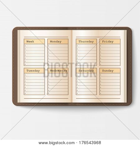 Open realistic notebook with pages diary office sheet template booklet and blank paper education copybook organizer vector illustration. Memo hardcover textbook planner text pad.