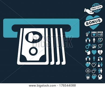 ATM Insert Cash icon with bonus dating pictograms. Vector illustration style is flat iconic symbols on white background.