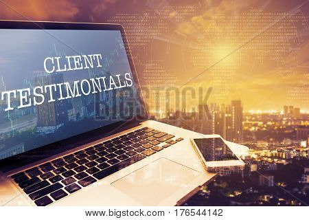 CLIENT TESTIMONIALS: Grey screen laptop computer. Vintage effects. Digital Business and Technology Concept.