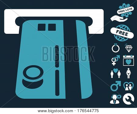 Bank ATM pictograph with bonus amour graphic icons. Vector illustration style is flat iconic symbols on white background.