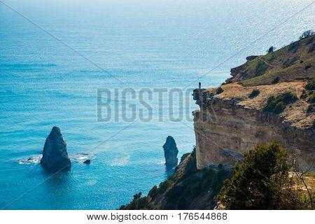 Beautiful sea landscape. Composition of nature. Crimean beachside.