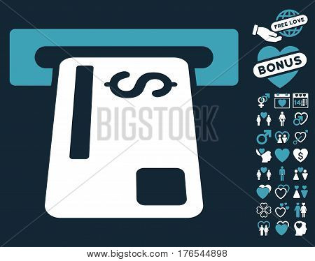 Bank Card Terminal icon with bonus amour pictograms. Vector illustration style is flat iconic symbols on white background.