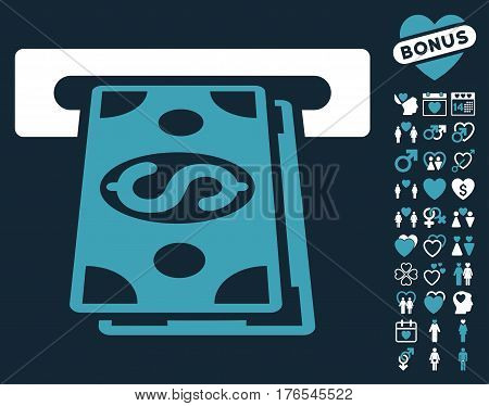 Cash Withdraw icon with bonus dating clip art. Vector illustration style is flat iconic symbols on white background.