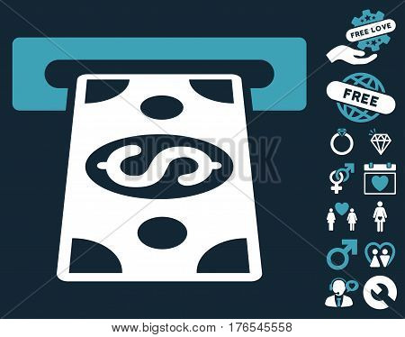 Cash Withdraw icon with bonus dating images. Vector illustration style is flat iconic symbols on white background.