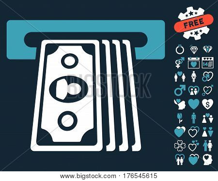 Cashpoint Terminal pictograph with bonus decoration pictograph collection. Vector illustration style is flat iconic symbols on white background.