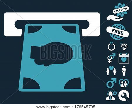 Cashpoint pictograph with bonus decorative images. Vector illustration style is flat iconic symbols on white background.
