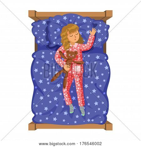 Girl sleep bedtime in his bedroom bed with teddy bear. Cartoon sleeping baby. Good night time. Bedtime. Vector Illustration