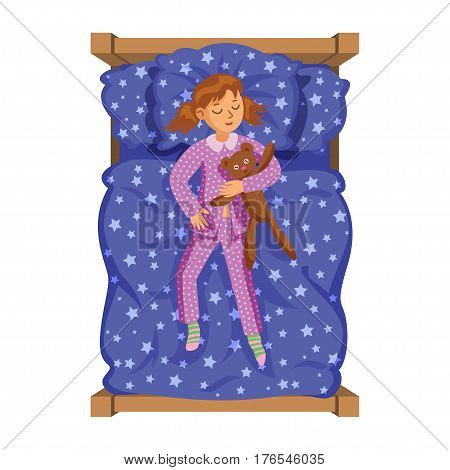 Cartoon smile little girl sleeping in the bed with teddy bear. Sweet dreams. Kid's activity. Vector Illustration
