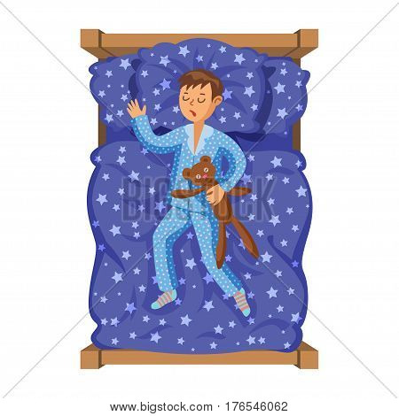 Little boy sleeping in her bed with teddy bear. Kid's activity. Good night time. Vector Illustration. Modern flat style cartoon clipart