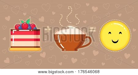 vector illustration of cake cappuccino cup and smiling yellow face on brown background with hearts
