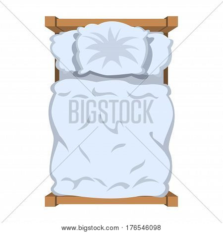 Bed with white linen top view. White bedclothes blanket and pillow. Vector illustration