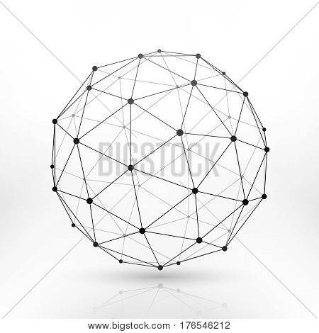 Wireframe globe sphere, connectivity, network tech connection vector concept. Abstract sphere frame line and dots, illustration of globe frame