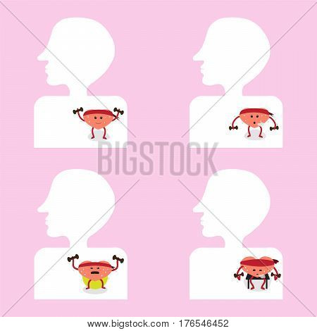 heart cartoon character exercise inside body vector illustration image showing different actions (conceptual image about how heart is functioning)