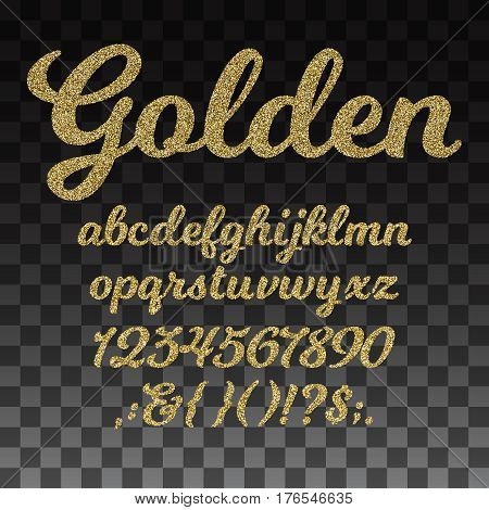 Gold glitter vector font, golden alphabet with lowercase letters, numbers and symbols. Golden abc and signs question exclamation, illustration of golden typeset and number