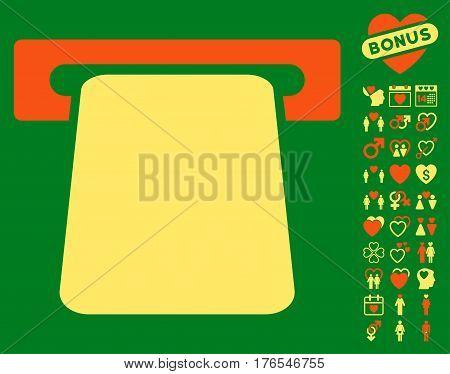 Bank ATM icon with bonus valentine icon set. Vector illustration style is flat iconic symbols on white background.