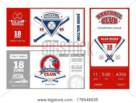 Baseball sports ticket vector design with vintage baseball team emblems. Template of baseball tickets championship illustration