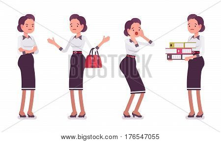 Set of young unhappy attractive secretary showing negative emotions, troubled executive assistant, frustrated with much work, administrative duties, having no motivation, full length, white background