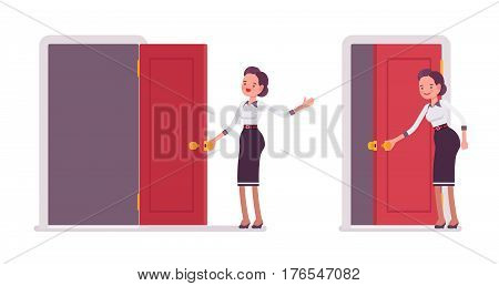 Set of young smiling attractive secretary in a smart casual wear standing, opening, closing the door, administrative assistant welcoming clients, inviting to the office, full length, white background