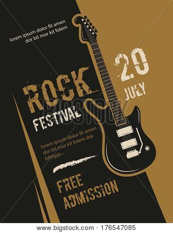 Retro grunge rock and roll, heavy metal, music festival vector poster design. Banner rock festival, illustration of placard with rock guitar