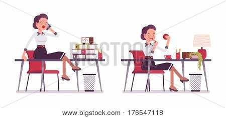 Set of young attractive silly secretary at the desk, office scene, doing make-up, gossiping on phone sitting on the desk, having a break, attending telephone calls, full length, white background